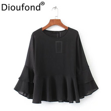 Dioufond Chiffon Blouses Women Shirts Butterfly Sleeve Solid Casual Blouses Long Sleeve O-neck Women Clothing Full Black Shirt(China)