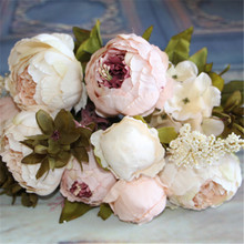 Hot Artificial Flowers Silk flower European Fall Vivid Peony Fake Leaf Wedding Home Party Decoration