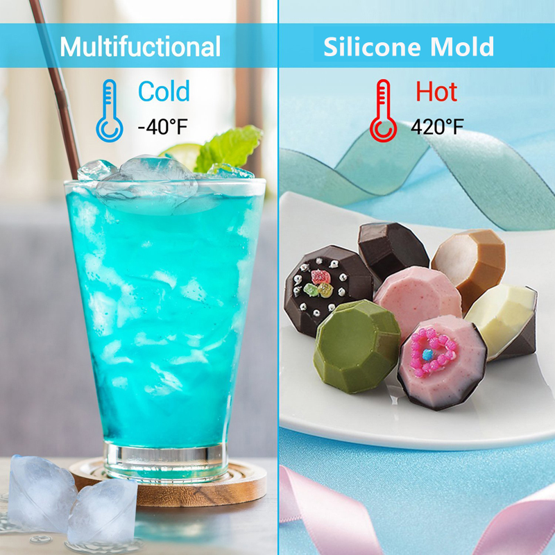 2018 New Silicone Ice Cube Tray Diamond Shape 3D Ice Cube Mold 4 Cavity Ice Ball Maker Home Bar Ice Cream Tools Kitchen Gadgets (8)