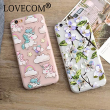 Fashion Luxury Floral Painted 3D Relief For Apple iPhone 6 6S 6Plus 6SPlus Beauty Flower Cartoon Horse Cell Phone Cases Cover