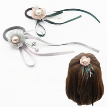 New Arrival Flower with Ribbon Bow Elastic Hair Ties Girls' Sweet adorable Ponytail Holder Women Accessories