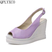 QPLYXCO New Plus Big size 34-43 Women shoes high heels sandals fashion Summer Platform Shoes woman Platform zapatos mujer C226(China)