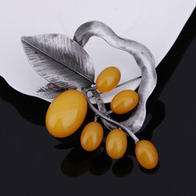 JUJIE Large Leaves Brooches For Women Vintage Brand Flower Acrylic Brooches For Wedding Bouquets Luxury Jewelry Dropshipping