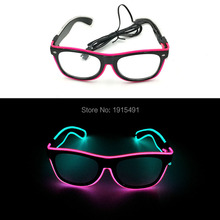 Cool Shopping Supplies EL wire Sound Activated Sunglasses Holiday Lighting Beautiful LED Neon Eyeglasses with DC-3V Controller(China)