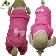 Pet Dog Bowknot Winter Warm Coat Clothes Super Quality Pink Rose Red Colour Size XS-XXL Autumn Jacket Clothing For Dogs