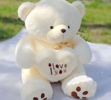 New Big Plush Toys Giant Teddy Bear Large Soft Toy Stuffed Bear White Bear I Love You Valentine Day Birthday Gift 50cm/70cm(China)