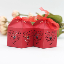 KAZIPA 50pcs Laser Cut Love heart Gift Candy Cake Favor Boxes Decoration Box for Wedding Party Favor Red Color