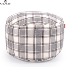 Living Room Plaid Furniture Footstool For Living Room Fashion  Linen Fabric Round Bean Bag Chair Floor Footstool 45*25cm
