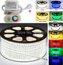New product 220V led strip 5050 60led/M 230V SMD led 50m strip flexible led strip rgb 110V + RF remote IR Touching controller(China)