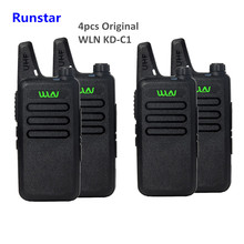 4pcs new promotion WLN KD-C1 Mini Wiress Walkie Talkie UHF Handheld Two Way Radio station Communicator Transceiver ham radio
