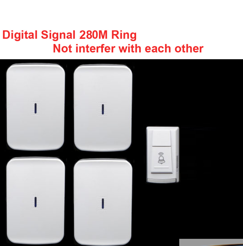 wireless door bell w/ 4 receiver &amp; power by AA battery doorbell Waterproof 280 Meter door chime door ring digital signal ring<br>