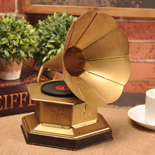 Retro Old Phonograph Decoration Living Room Crafts Items Window Home Furnishing European Antique Model