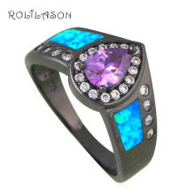 New Promotion Pretty Zircon Rings Blue Fire Opal Black Gold Tone AAA Zirconia Fashion Jewelry Ring USA Sz #6#7#8#9 OR806