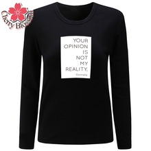 Cherry Blossom T Shirt Women Clothes Tshirt Long Sleeve Tops Womens Clothing T-Shirts Casual Tee Shirt Femme Poleras Mujer(China)