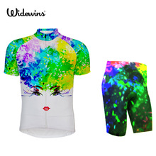 widewins team cycling jersey road bike wear breathable Ropa Ciclismo Sports wear Bicycle clothes Bike shirt Rainbow Peacock 7139(China)