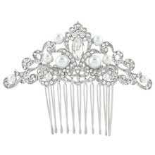 BELLA 2015 Vintage Inspired Clear DropSimulated Ivory Pearls Hair Comb Austrian Crystal Bridal Hair Wedding Hair Jewelry