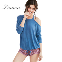 Lemon Apparel Summer Sweet Loose Female Top Tees Blue One Shoulder Casual Chic Women T-shirt Sexy Lace Up Basic Pullover Tops