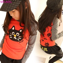 MRJMSL Hot sale Size100~140 children t-shirts for girls long sleeve t shirts autumn spring cat