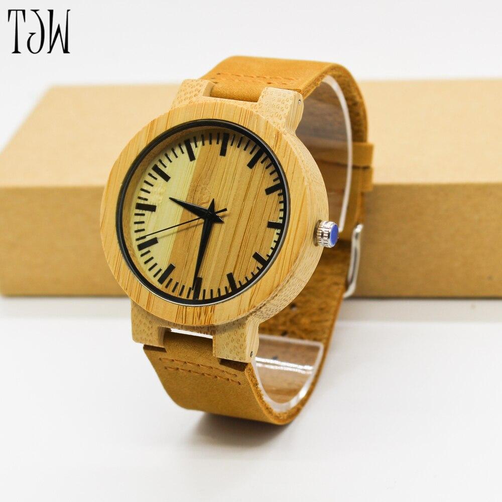 2018 TJW  High  Men Women Quartz Wristwatch Handmade Minimalist Modern Genuine Leather Bangle Male Watches Bamboo Gifts Relogio<br>