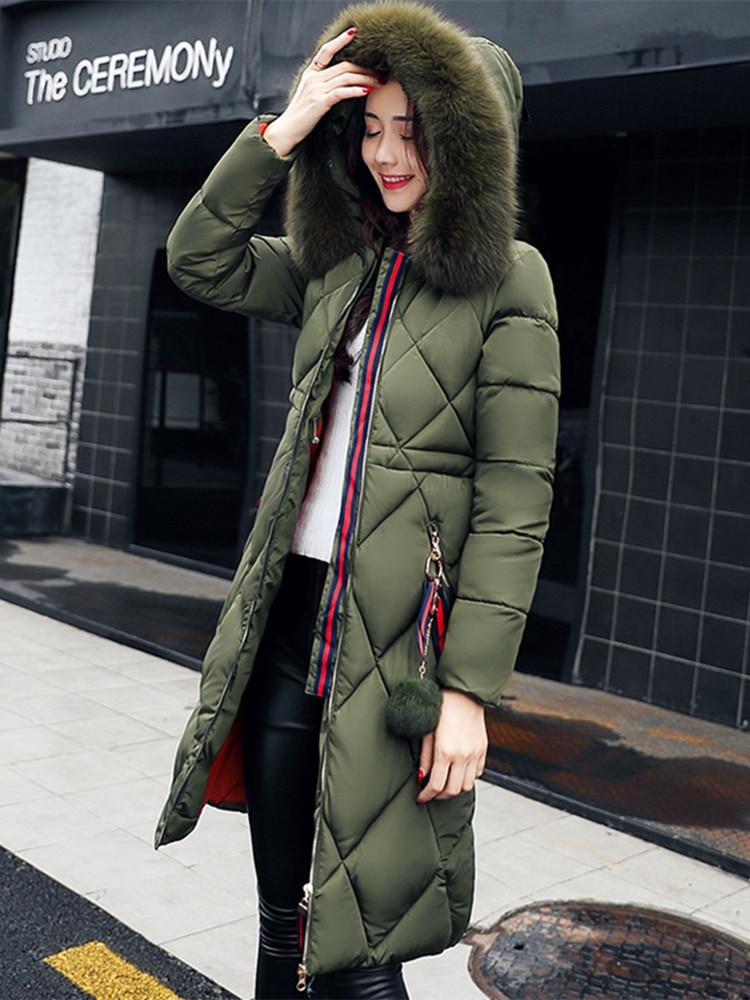 Winter Coat Down-Jacket Parka Women Thickened Cotton Ladies Slim Long Stitching Big-Fur gown