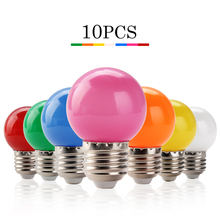10pcs E27 LED Colorful Light Bulb Bombillas Screw Neon SMD2835 Ball Lamp Fashion DJ Disco Party Christmas Lights 220V LED Bulbs(China)