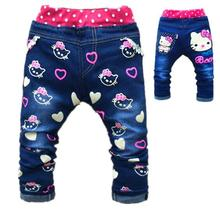 Baby Girl Jeans Trousers Hello Kitty Pants Kids Girls Leggings Children Cashmere Pants Baby Autumn Denim Jeans Clothes 1-5years