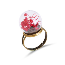 New Brand Jewelry with Bronze Plated Glass Real Dandelion Shaped Adjustable Finger Ring for Women Party Gift(China)