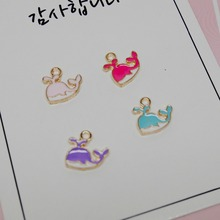 Cute dolphin Whale Enamel Charms 10pcs/lot Metal Pendants Gold base Fashion Jewelry Accessories(China)