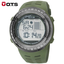 New OTS 7025G Men Waterproof Sports Army Green Silicone Strap Luminous Digital Wrist Watches  Relogio Masculino 2016 fashion
