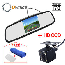 Car Parking Assistance System 4.3 Inch TFT LCD Car Reverse Mirror Rearview Monitor + 4 LED Lights IR Car Rear View Camera(China)