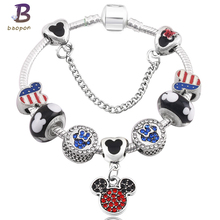 BAOPON Vintage Sliver Plated Mickey Dangles Charm Bracelet&Bangle Fit Original Pandora Bracelet Jewelry For children Gift(China)