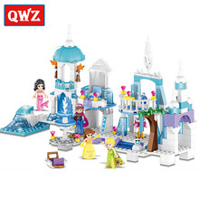 QWZ New 4 in 1 Princess Mermaid Elsa Anna Ice Castle Building Blocks Sets Kids Toys Compatible With Legoe Friends For Girl Gifts(China)