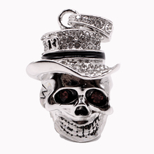 Free Shipping Creat Skeleton Head USB Flash Drive 32GB Diamond Pen Drive 16GB 8GB 4GB 128GB Pendrive Memory stick USB 2.0 Disk