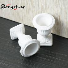 Miniature Dollhouse Furniture 2pc White Flower Pot Child Puzzle DIY Garden Exterior Decoration Doll House Miniature 1:12 Model(China)