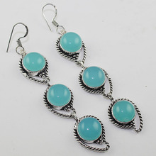 Chalcedony  Earrings  Silver Overlay over Copper , 91 mm, E1056