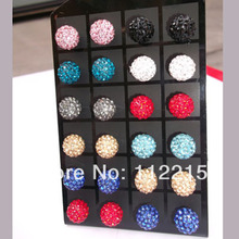 wholesale high  Quality   40pcs=20 Pairs/Lot, mix 12 colors,10mm Crystal  Disco Ball Shamballa Earrings  free shipping E05