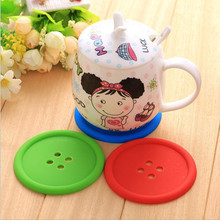 1pcs Silicone Cup mat Cute Colorful Button Cup Coaster Cup Cushion Holder Drink Cup Placemat Mat Pads Coffee Pad