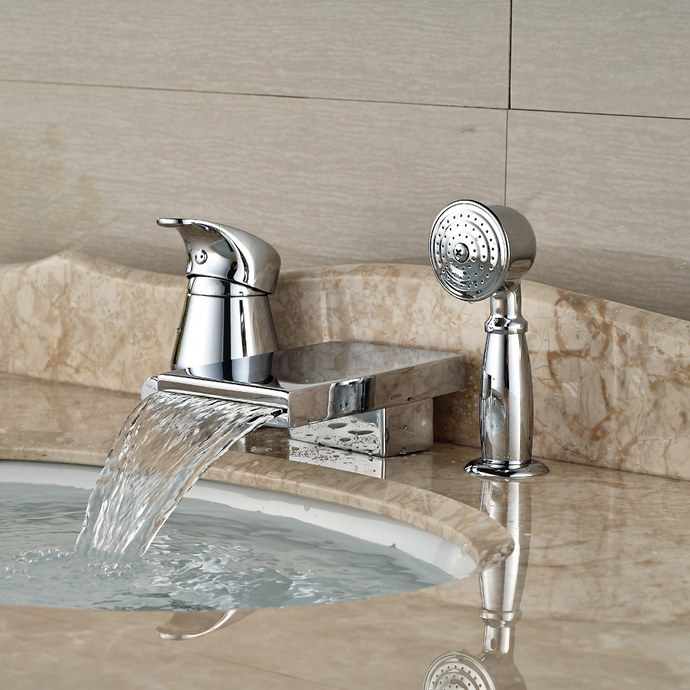 Deck Mount Tub Widespread Waterfall 3pcs Bath Faucet For Basin Mixer Brass Handle Tap Chrome Finish<br><br>Aliexpress