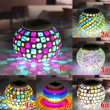 New Solar Powered Mosaic Glass Ball Garden Lights Colorful Changing Yard Balcony Lamps Waterproof Indoor Outdoor Light --M2