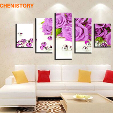 Unframed 5 Pieces Purple Roses Flower And Pearl Large HD Print Modern Art Painting Artwork For Wedding Decoration