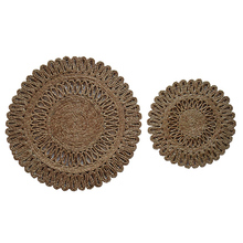 2pcs Hand Made Organic Jute table Hot Pads in Unique Sun Pattern(China)