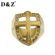 D&Z Hiphop Cool Gold Color Paving CZ Shild Cross Rings Iced Out Casting Stainless Steel Ring for Men Jewelry