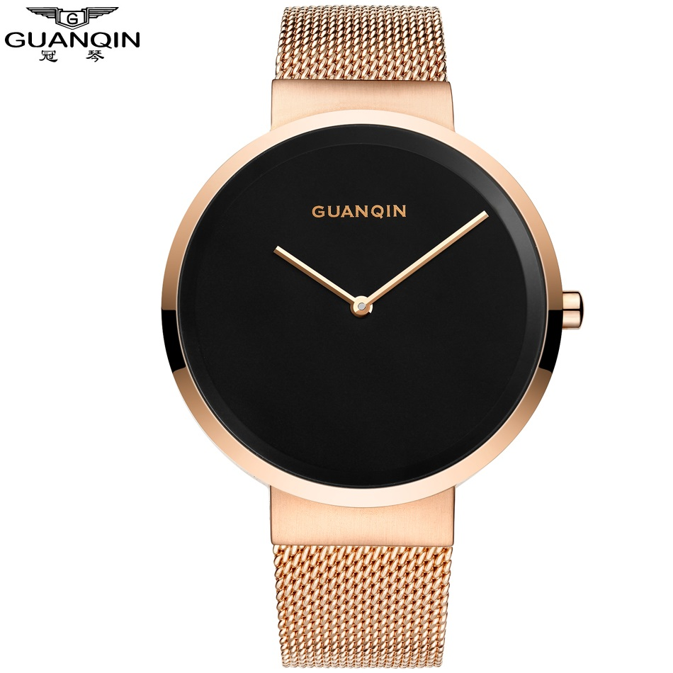 Simple GUANQIN Men Watch Stainless Steel Fashion Mens Clock 2017 Shock Resistant Waterproof Gold Mens Watch Wristwatches<br>