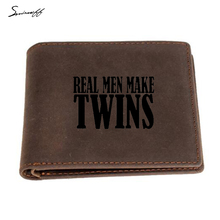 Genuine leather Wallet Engraved Letters Real men make twins wallet Men Small Zip Pocket Purse Multi-card Holders Short Wallet(China)