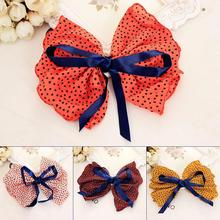 Black Dots Chiffon Cloth Bow Dark Blue Ribbon Band Hair Clips Barrettes Headwear for Girls Hair Accessories Women(China)