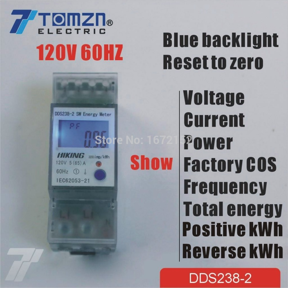 5(65)A 120V 60HZ display voltage current Positive reverse power reset to zero Single phase Din rail KWH Watt hour energy meter<br><br>Aliexpress