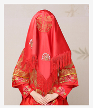 Women Lady Upscale Chinese Wedding Marriage Embroidered Silky Bride Red Bonnet Head-wear Veil Hong Gai Tou