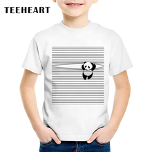 TEEHEART 2017 Boys/girls's Vintage T-shirt Climb The Cable Panda Print Harajuku T shirts Children O-neck Short Sleeve Tee TA702(China)