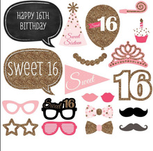 Chicinlife 1set Happy 16th Birthday Photo Booth Props Moustache Crown Glasses On A Stick Birthday Party Supplies