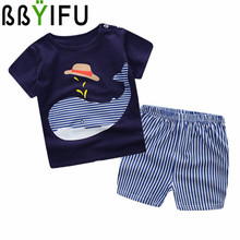 BBYIFU Newest 2017 Cotton Short Sleeve Baby Clothing Set Summer Cheap Newborn Toddler Baby Boys Clothes Set Adorable Infant Sets
